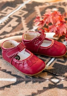 Livie and Luca Baby Shoes - Ruche in Red