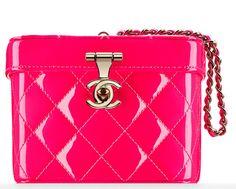 Chanel minaudière rose vernie