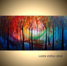 Free Shipping MAGIC FOREST Original Modern Abstract Trees Landscape Large Painting by Luiza Vizoli 48x24