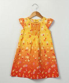 Look at this #zulilyfind! Yellow Pineapple Dress - Infant, Toddler & Girls by Beebay #zulilyfinds
