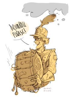 """phemiec: """" a junkrat skin I rly want a marching band outfit like this and then his riptire is one of those big drums Maybe with a """"Drumroll, please!"""" voice line and the sound of a drumroll instead of the normal RIP tire noise Junkrat Fanart, Overwatch Skin Concepts, Jamison Fawkes, Junkrat And Roadhog, Overwatch Memes, Life Is Like, Bellisima, Art Inspo, Games"""