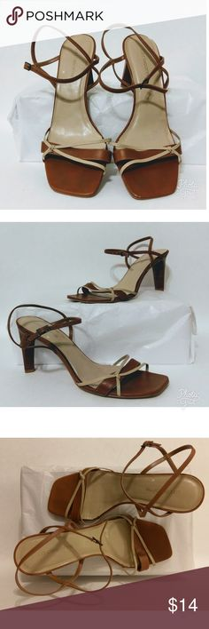 "LIZ CLAIBORNE ""Lucky"" Strappy Leather Uppers Liz Claiborne Lucky Strappy Leather Uppers. Brown and tan leather sandals.  Pre-owned. No Box. Liz Claiborne Shoes Heels"
