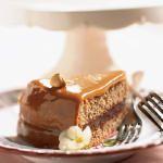 A holiday dessert of Caramel-cloaked Chocolate-Hazelnut Torte.
