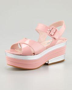 Patent Crisscross Platform Wedge Sandal by Miu Miu at Neiman Marcus.