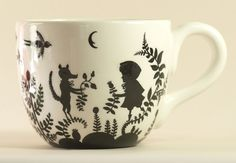 Elsa Mora papercut mug - awesome; I want to make one too!