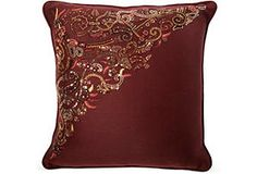 One Kings Lane - This Week's Vintage Mix - Burgundy Beaded Pillow