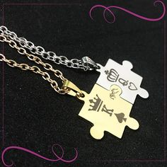 Beautiful King & Queen Stainless Steel Necklaces for Couple Buy Gold Jewellery Online, Gold Jewelry, Sell Gold, Jewelry Model, Stainless Steel Necklace, Fashion Necklace, Fashion Jewellery, Matching Necklaces, King Queen