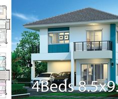House design plan with 4 bedrooms. Style Modern TropicalHouse description:Number of floors 2 storey housebedroom 4 roomstoilet 3 rooms 4 Bedroom House, One Bedroom, 2 Storey House, Family House Plans, Two Story Homes, Large Bedroom, Home Design Plans, Small Living Rooms, Window Design