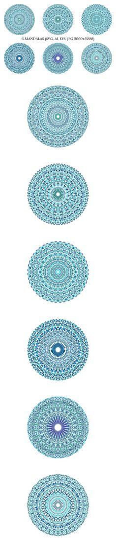 6 Floral Mandalas #LogoTemplate #geometric #turquoise #AbstractLogoTemplate #MandalaGraphic #logo #AbstractLogoDesign #MandalaGraphics #LogoTemplateDesign #mandalalogo #mandalas #GeometricLogo #logos #blue #MandalaLogoTemplate #MandalaLogoTemplates #LogoDesignTemplates #geometry #logo