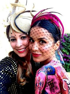 Fancy feathered fascinators with veils & netting Fascinator Headband, Turban Headbands, Wedding Guest Style, Ascot Hats, Races Fashion, Wedding Hats, Hair Ornaments, Hair Today, Headdress