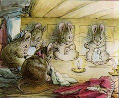 Beatrix Potter - five little mice sewing by candle light.