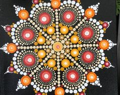 """Hand painted Dot Mandala on 8""""x8"""" stretched canvas"""