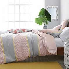 I want to climb into this bed  - so comfy | Shoreline Stripe Yarn-Dyed Duvet Cover | The Company Store