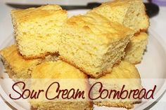 """Sour Cream Cornbread http://www.momspantrykitchen.com/sour-cream-cornbread.html; use vegan sour cream and flax """"egg"""" for egg"""