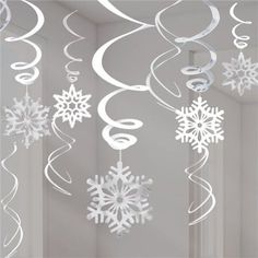 Silver Snowflake Hanging Swirls - Christmas Decorations - (Pack of Diy Christmas Fireplace, Diy Christmas Snowflakes, Snowflake Garland, Snowflake Craft, Paper Snowflakes, Christmas Diy, Minimal Christmas, Unique Christmas Trees, Simple Christmas