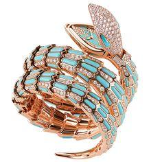 Bulgari watch worn by Elizabeth Taylor on the set of Cleopatra Bracelet Or Rose, Snake Bracelet, Snake Jewelry, High Jewelry, Luxury Jewelry, Bracelet Watch, Bulgari Jewelry, Snake Ring, Jewellery