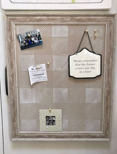 Create the perfect little home office corner using a clearance aisle bulletin board and a quick makeover. Homeroad.net #office #homeoffice #bulletinboard #memoboard #pinboard #organize #holidaysales #buffalocheck #farmhousestyle #oldsignstencils #stencils