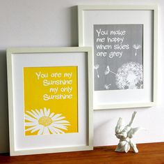 You are my sunshine print set yellow and grey by PaperLlamas, $25.00