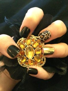 Jamberry nails manicure jamicure cute black gold leopard jamicure