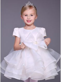 A-Line/Princess Short/Mini Flower Girl Dress - Tulle Sleeveless Scoop Neck With Beading/Bow(s)