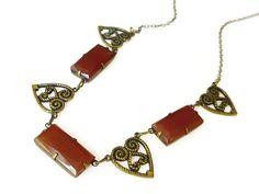 Art Deco Necklace, Carnelian Glass, Heart Shape, Gold Filled, Sweetheart…