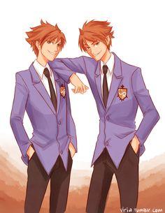 Ouran High school host club - Hitachiin twins by viria Colégio Ouran Host Club, Ouran Highschool Host Club, Host Club Anime, High School Host Club, Blue Exorcist, Viria, Hikaru Y Kaoru, Anime Guys, Manga Anime