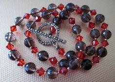 Smokey Quartz and Swarovski Crystal Necklace by mdeja on Etsy, $118.00