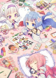 kawaii girls sleepover illustration anime manga art, rem ram Emilia re zero Manga Kawaii, Loli Kawaii, Kawaii Chibi, Cute Chibi, Kawaii Anime Girl, Kawaii Art, Anime Art Girl, Manga Girl, Anime Boys