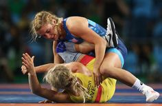 Helen Louise Maroulis of the United States (blue) competes against Sofia Magdalena Mattsson of Sweden during the Women's Freestyle 53 kg Semifinals on Day 13 of the Rio 2016 Olympic Games at Carioca Arena 2 on August 18, 2016 in Rio de Janeiro, Brazil.