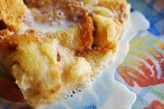 Recipes from Disney World! Pina colada bread pudding with vanilla rum sauce from Disney Cruise Lines!