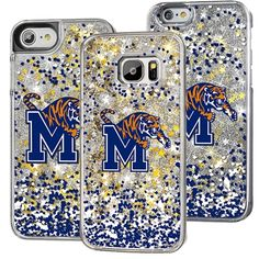 Memphis Tigers Glitter Confetti iPhone and Samsung Case This Memphis Tigers Glitter iPhone and Samsung Case adds a layer of glittery protection & charisma to your simple phone. Don't own just another phone, make a statement with this floating glitter case.