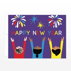 happy new year card fireworks new years eve holiday greeting card multicultural