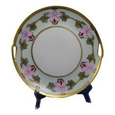 "Schumann Arzberg Bavaria Arts & Crafts Floral Design Handled Plate (Signed ""Anna""/c.1920-1940)"