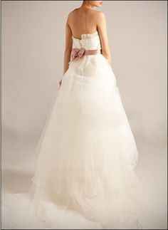Stylish belted duchesse gown