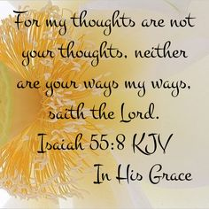 Isaiah 55:8 (KJV) For my thoughts are not your thoughts, neither are your ways my ways, saith the LORD.