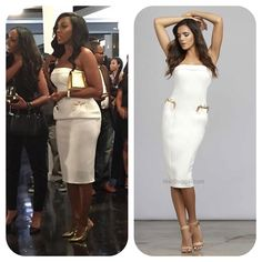 #PorshaWilliams' White Strapless Dress With Gold Detail Pockets #RHOA