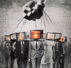 To me, this picture is so empowering and deep on many levels. It illustrates how technology has literally consumed us, taking over our lives. I like how it shows this by using TVs in place of heads and how they are all connected under one hand and how each different TV shows the ways we've become infatuated with technology/media. The contrast of black and white and then the TV screens being in full color really shows the importance. I overall just love the concept of this picture.