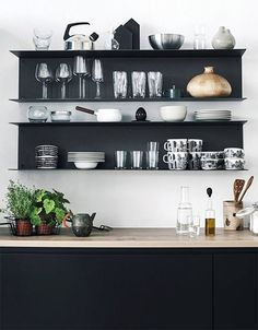 Looking to spice up your kitchen? Kitchen shelves always do the trick. Affordable and fun to install, kitchen shelves make everything accessible, and bring Kitchen Room Design, Kitchen Sets, Kitchen Interior, New Kitchen, Kitchen Decor, Ikea Decor, Modern Shelving, Scandinavian Kitchen, Minimalist Kitchen