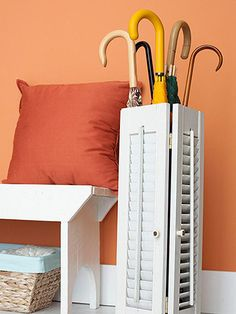 Reuse old shutters for this thrifty umbrella stand. More flea market finds: http://www.bhg.com/decorating/storage/projects/clever-unexpected-storage-solutions/?socsrc=bhgpin040113shutterumbrellastand