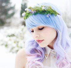 Floral crown, woodland headband, moss tiara, whimsical hair accessories - The road less traveled Pastel Hair, Ombre Hair, Purple Hair, Purple Ombre, Pastel Blue, Crown Hairstyles, Pretty Hairstyles, Rapunzel, Whimsical Hair