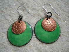 Enamel Jewelry Enamel Earrings Green Copper by SevenCenterStudios, $25.00
