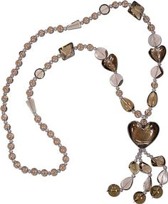 PRODUCT CODE: R2WGLS0824  28 Inch long Ready to wear Brown glass beads with 24mm heart shape center piece.  http://www.houseofgems.com/necklaces.aspx