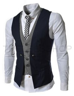 Layered vests for the groomsmen -- blush backless tuxedo vest with a Black/Navy/Charcoal one button Tuxedo collar full vest on top