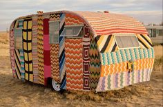 crocheted trailer, El Cosmico, Marfa, TX