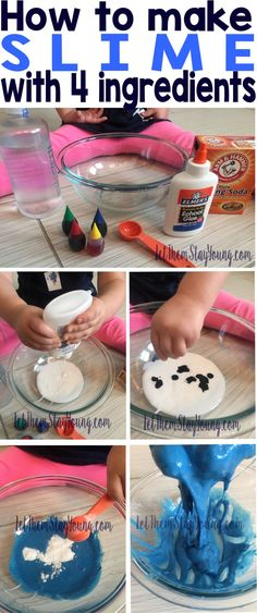 How To Make Slime, DIY slime, make slime in 4 ingredients, 5 simple #toddleractivities #kidactivities #indooractivities #slime #glueslime