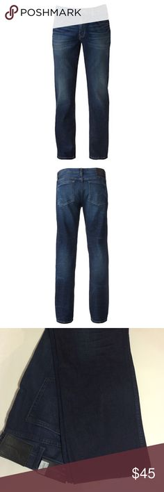 Marc Anthony Jeans All eyes on you. The slim straight fit and faded details make these men's Marc Anthony jeans stand out in a crowd. In indigo wash. PRODUCT FEATURES Whiskering 5-pocket Zipper fly FIT & SIZING, tag says 36/30 but they are the size printed in the pants 38/30. Slim-straight fit sits low on waist and is slim from the thigh down to the leg opening FABRIC & CARE Cotton 99%/spandex 1% Machine wash Imported Marc Anthony Jeans Slim Straight