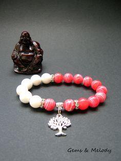 Mala beads bracelet, Tree of Life charm bracelet, healing crystals and stones, white Agate and Chalcedony bracelet, boho statement bracelet