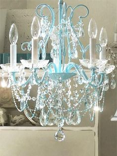 Interior Design Ideas for Girls' Bedroom - Vintage Shabby Chic Bedroom Ideas - Love the blue on this chandelier.
