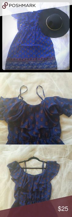 Blue Jessica Simpson dress Dark blue size medium Jessica Simpson dress.  Top is adjustable spaghetti straps with layover on shoulders. Last picture is bottom of the dress design. 100% polyester, machine washable. Jessica Simpson Dresses Mini