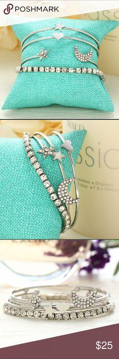 Set of 4 Silver Rhinestone Heart Moon Bracelets Brand new Jewelry Bracelets